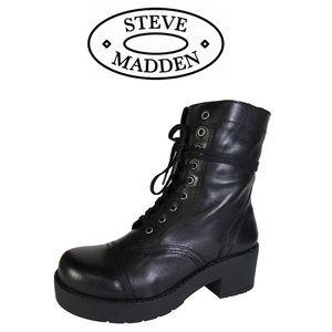 NIB Steve Madden Dreammer Blk Lace Up Boots Sz 6